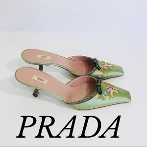 MINT SATIN EMBROIDERED PRADA MULES